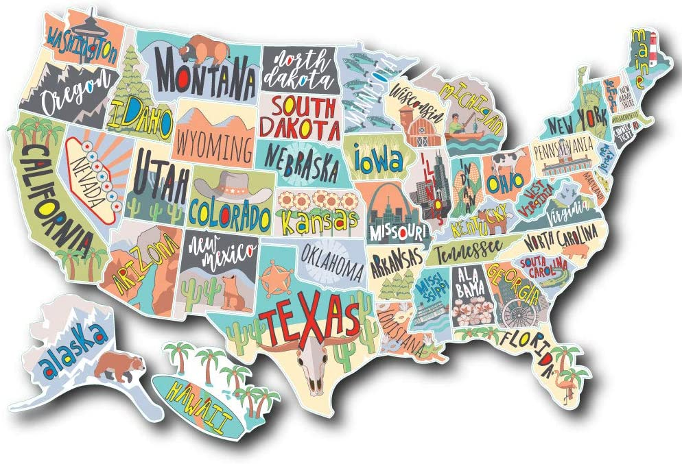 US States Map Travel Tracker Sticker Set   United States Adventure Decals   RV Motorhome Camper or Trailer Accessories   Large 22 x 13 in  Road Trip States Visited USA   Vinyl North America Version 4