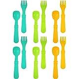 Re-Play Made In USA 12pk Utensils for Easy Baby, Toddler, Child Feeding - Aqua, Green, Sunny Yellow (Aqua Asst.)