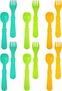 product image for RE-PLAY Made in The USA 12pk Fork and Spoon Utensil Set for Easy Baby, Toddler, and Child Feeding in Aqua, Lime Green and Sunny Yellow | Made from Eco Friendly Recycled Milk Jugs | (Aqua Asst.)