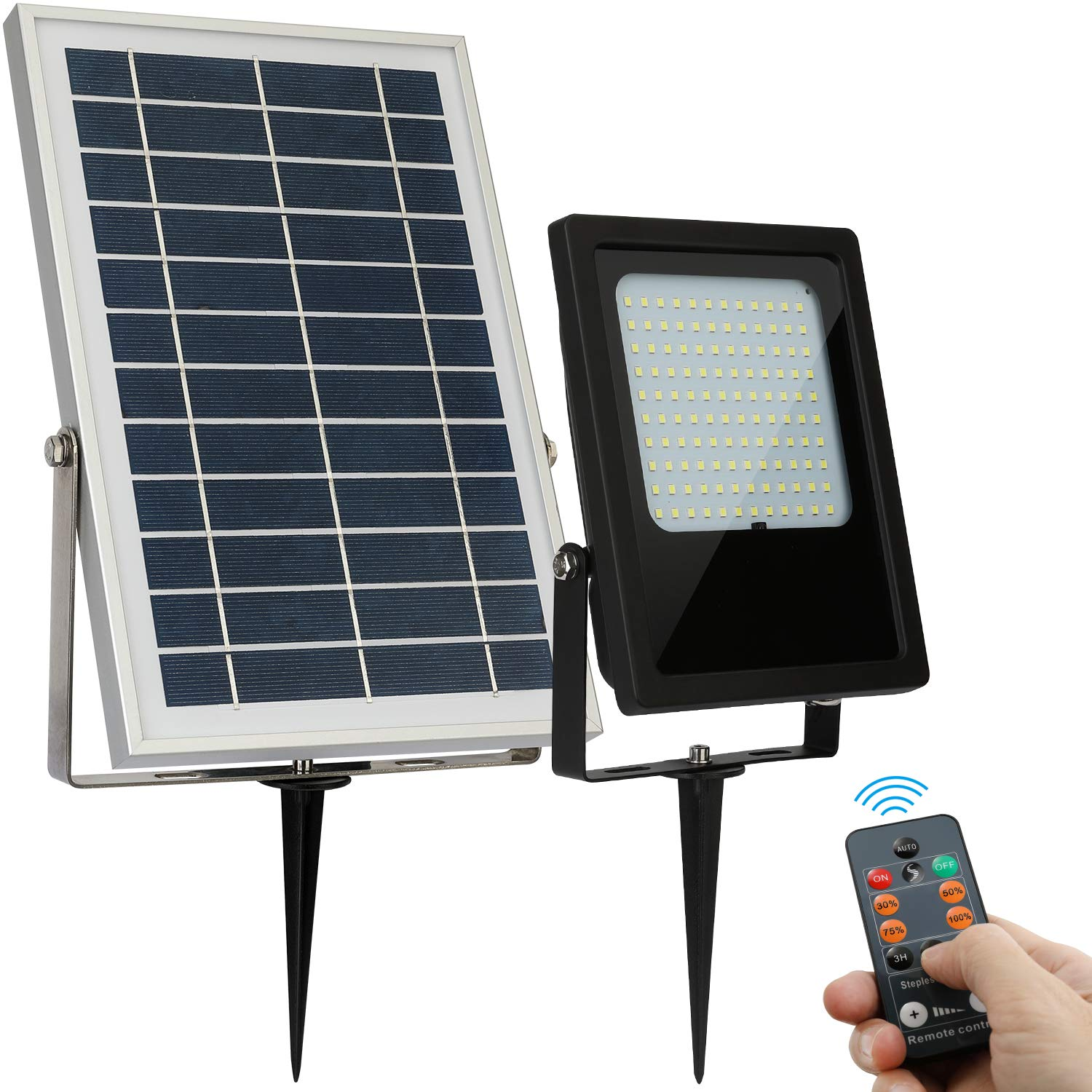 Solar Floodlight Outdoor 120 LED IP65 Waterproof with Remote Auto On Off Dusk to Dawn for Pathway Patio Garden Shed Yard and Driveway by GEN Solar LX600F