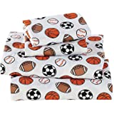 Fancy Collection Twin Size Sheet Set (Sport Baseball Basketball Football Soccer White Black Orange Brown)