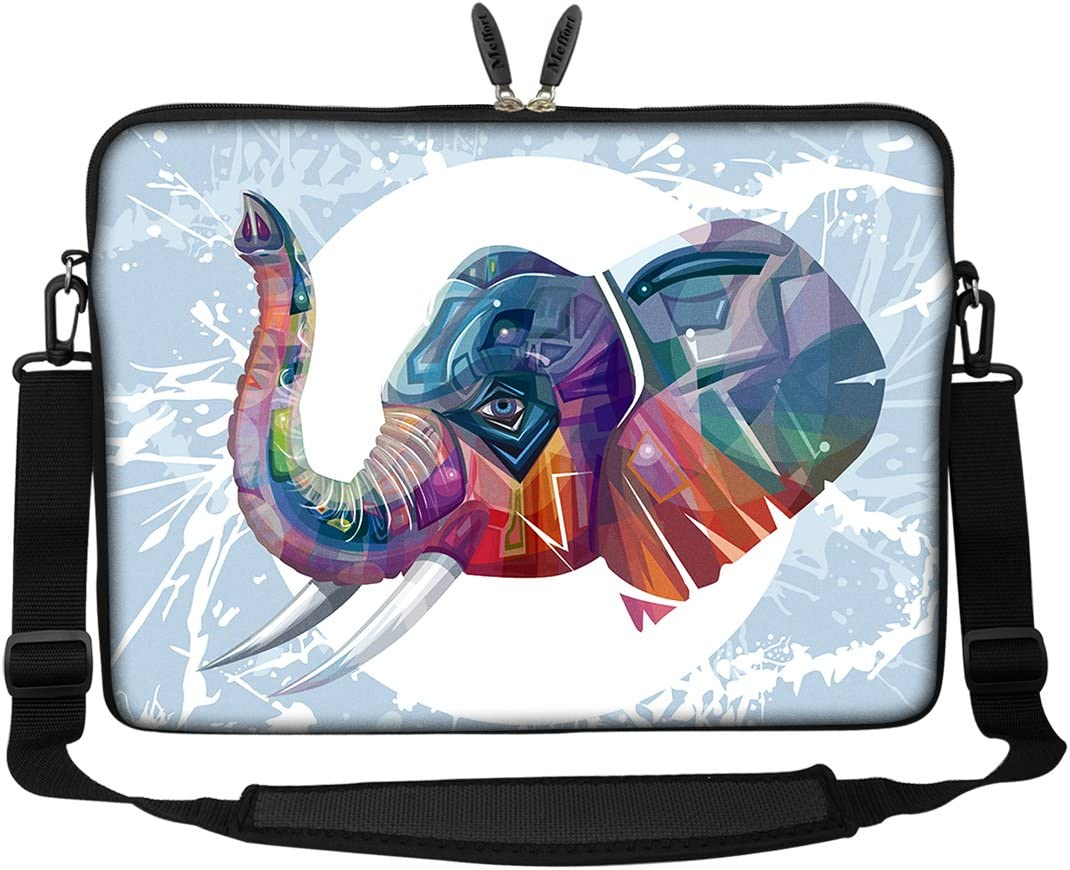 Meffort Inc 15 15.6 inch Neoprene Laptop Sleeve Bag Carrying Case with Hidden Handle and Adjustable Shoulder Strap - Elephant Painting