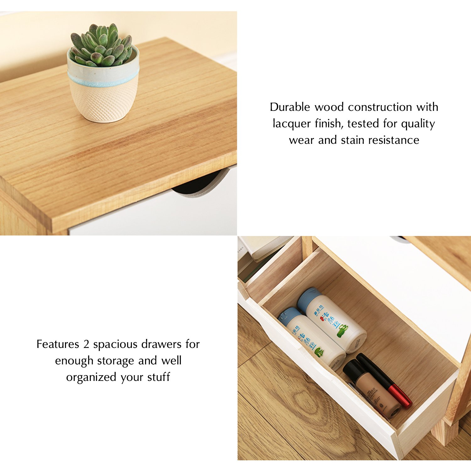 Jerry & Maggie - Nightstand - 2 Tier Curving Pattern Sides Night Stand Storage Bedside Table with 2 Drawer Real Natural Paulownia Wood (2 Tier   Cubric Style) by Jerry & Maggie (Image #4)