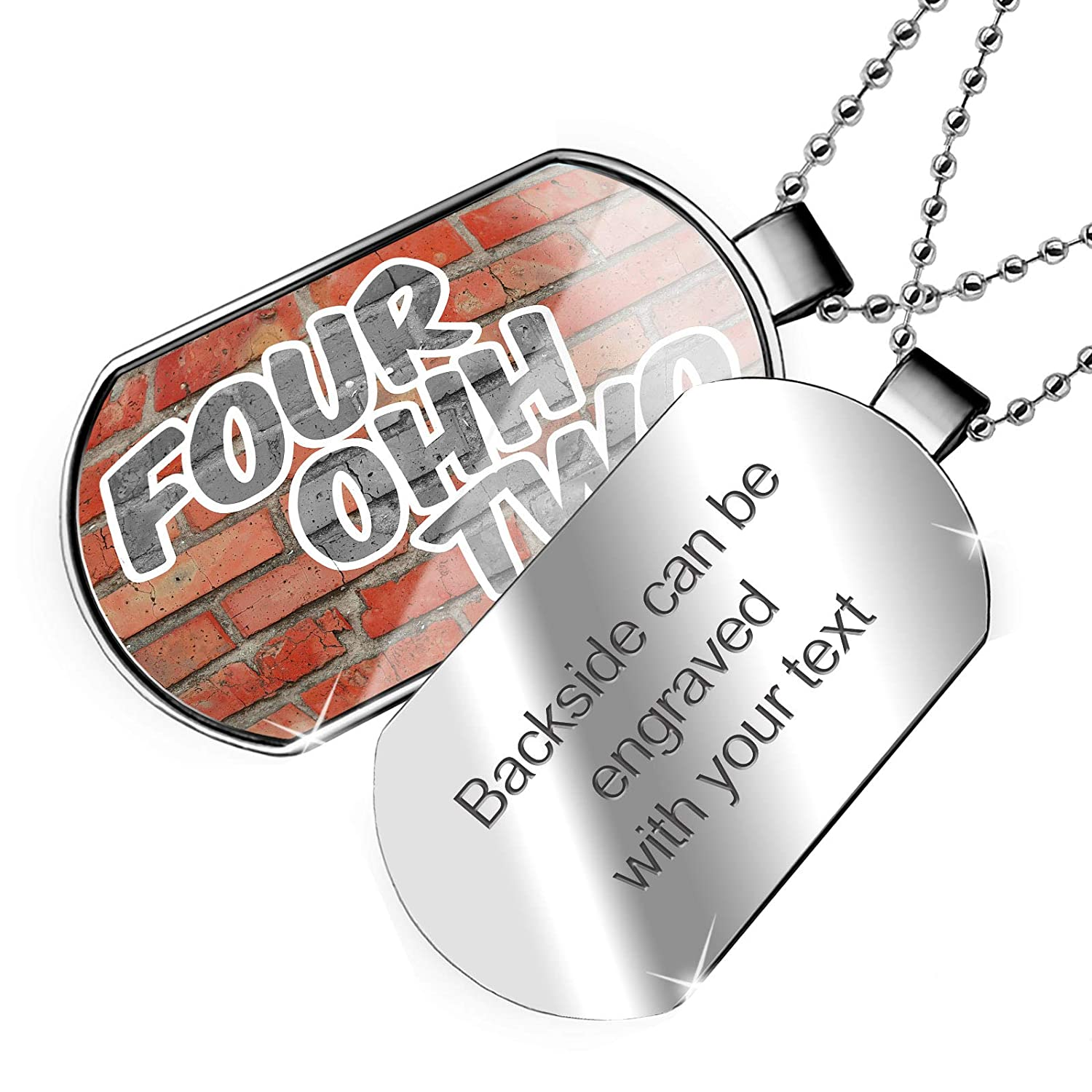 NE Brick Dogtag Necklace NEONBLOND Personalized Name Engraved 402 Omaha