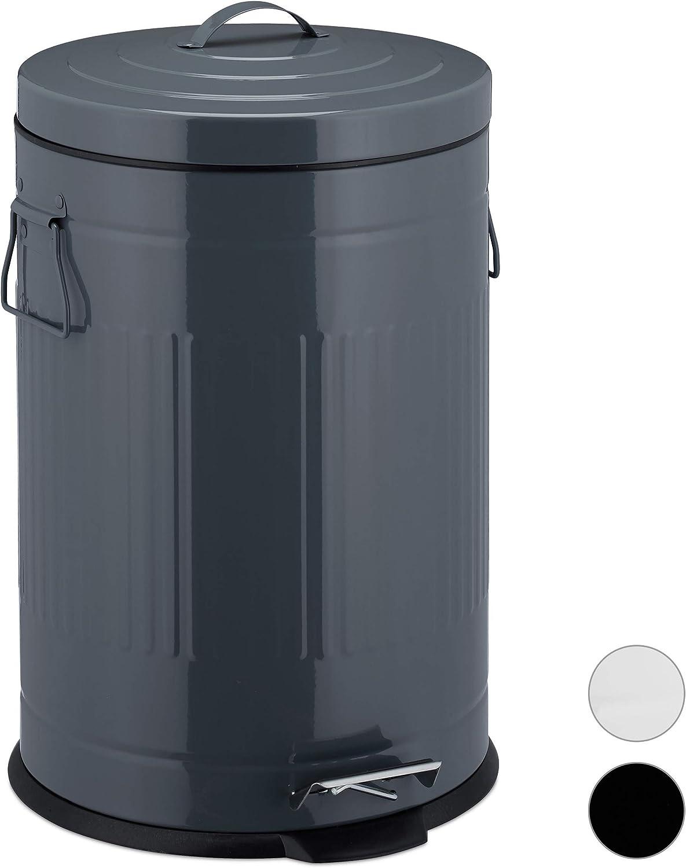 30 Sacs Poubelle Gratuits Poubelle Ronde 20 litres avec Couvercle pour Bureau Cuisine Salon ,Noir