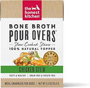 The Honest Kitchen Bone Broth POUR OVERS Wet Toppers for Dogs (12 pack), 5.5 oz - Chicken Stew