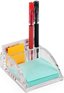 ARAD Acrylic Container for Office Supplies with Sticky Notes, Pen, and Card Slots