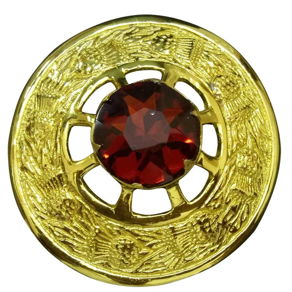 Uomo kilt scozzese Fly plaid spilla marrone pietra placcato oro 7, 6cm/Highland Celtic pin & spille finitura dorata Highland Kilt Fly Plaid Brooch