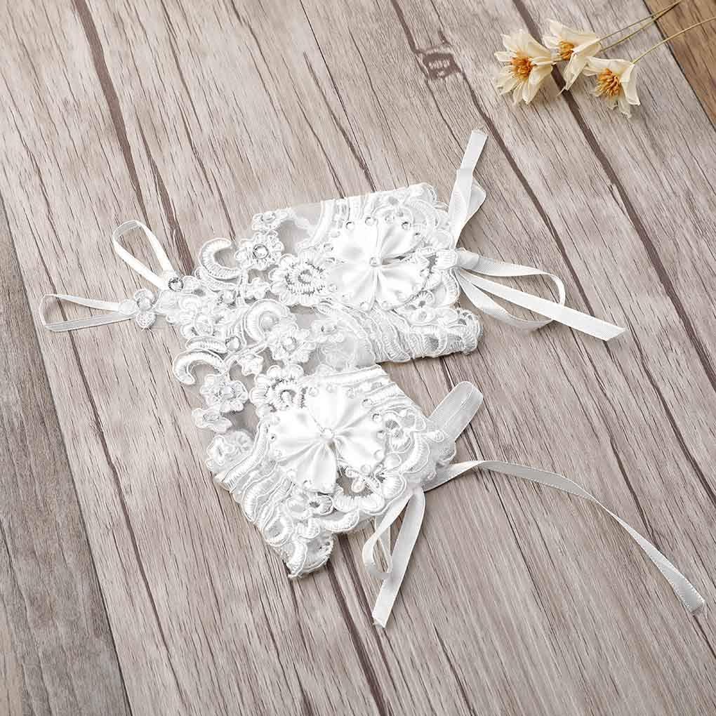 Olbye Womens Bridal Wedding Gloves Fingerless Lace Gloves White Bow Gloves Short Cuffs Wedding Accessories