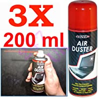 3 X NEW COMPRESSED AIR DUSTER SPRAY CAN CLEANER MUSIC INSTRUMENTS LAPTOPS KEYBOARD COMPUTER CAMERA CLEANING PHONES PRINTERS CANS 200ML