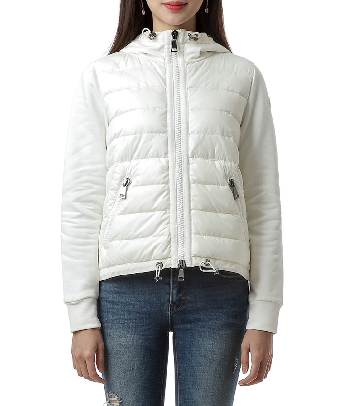 Wiberlux Moncler Women's Padded Panel Hooded Zip-Up Jacket XS Ivory by Wiberlux (Image #1)