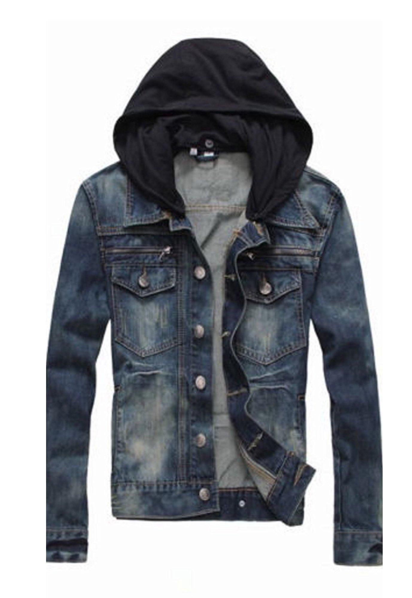 PRIME Men's Denim Jacket Slim Fit Casual Jacket DJBH-01 (LWF, S) by Prime