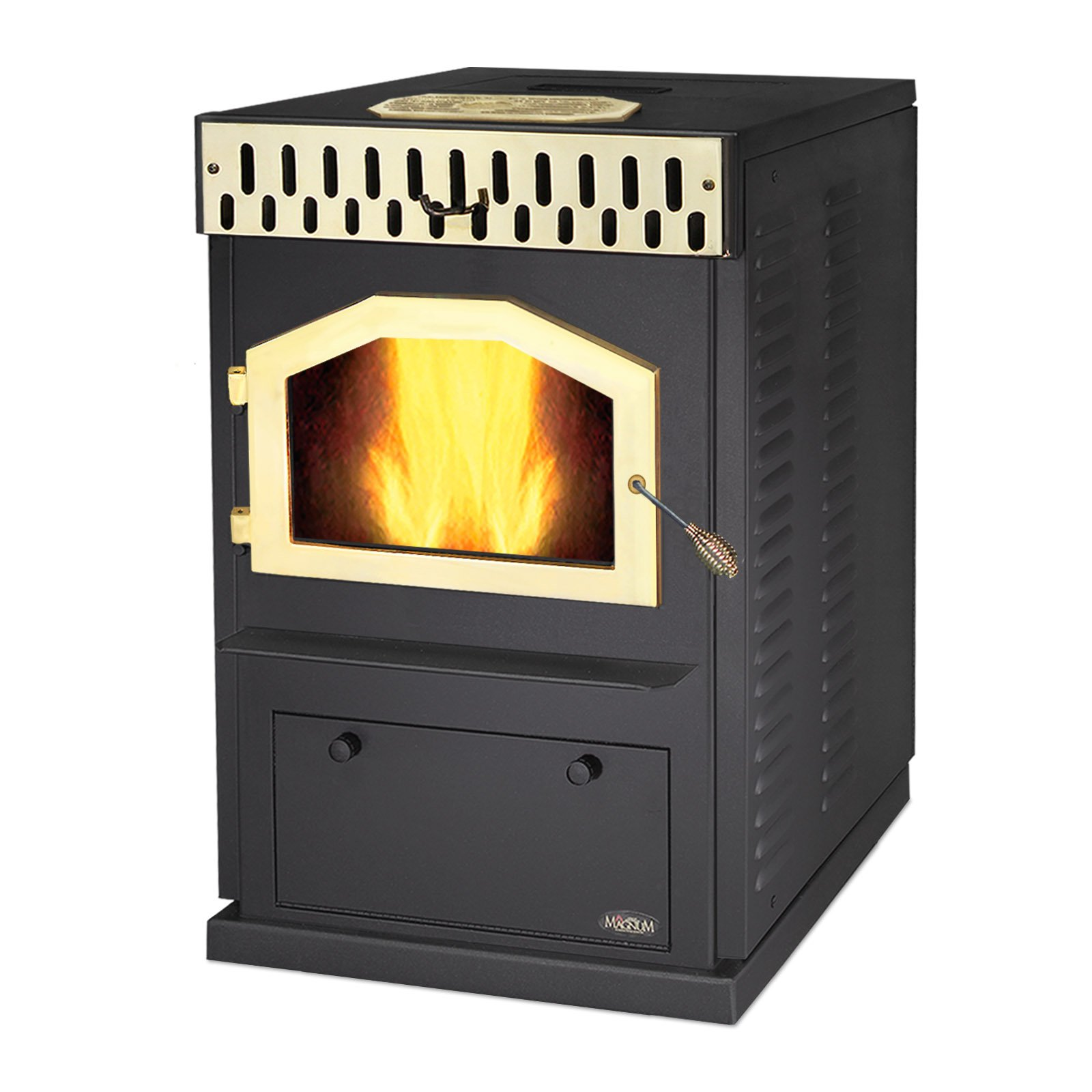 MagnuM Countryside in Black with Custom Gold Door Wood Pellet Stove 32,000 BTU Hand-Built in USA