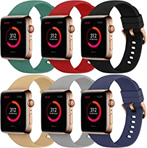Abincee 6PCS Bands Compatible with Apple Watch 38mm 40mm 42mm 44mm with Rose Gold Buckle,replacement band for iWatch Series 6/5/4/3/2/1 (Black/Midnight Blue/Red/Gray/Walnut/Pine Green, 38mm/40mm)