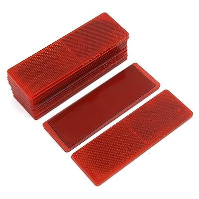 uxcell Automotive Car Red Rectangle Stick-on Safety Reflector Plate w/o Holes 10PCS: Automotive