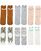 VWU 6 Pairs Baby Girls Boys Cartoon Knee High Stockings Tube Socks 1-5Y