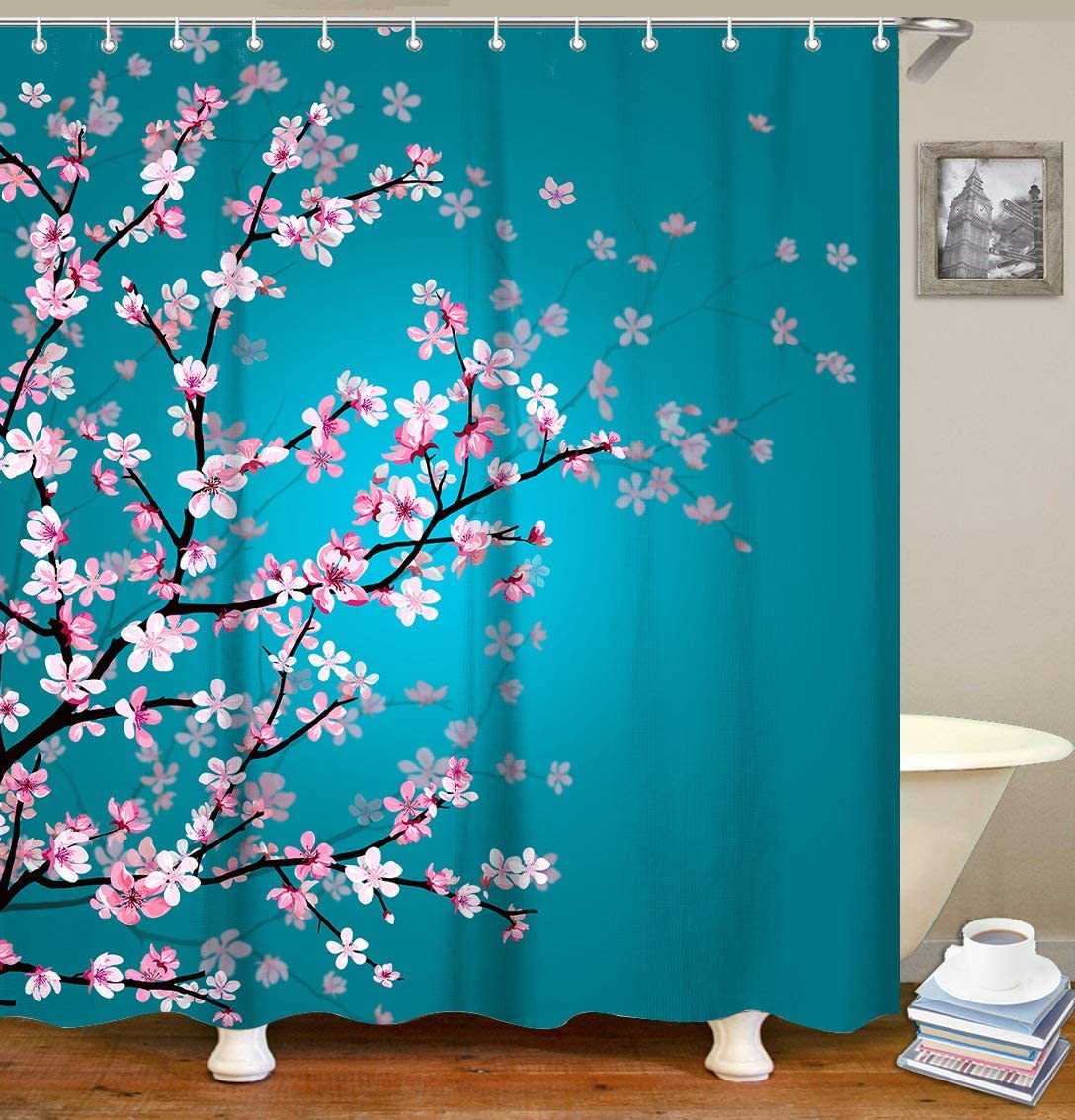 "LIVILAN Cherry Blossom Shower Curtain, Floral Teal Fabric Sakura Plum Blossom Bath Curtains with 12 Hooks Bathroom Decor 70.8"" X 70.8"", Turquoise"