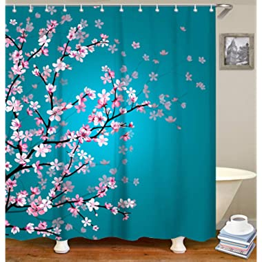LIVILAN Floral Bathroom Curtain Set with 12 Hooks Cherry Blossom Shower Curtains Fabric Bath Curtain Bathroom Decor,70.8  x 70.8 , Turquoise