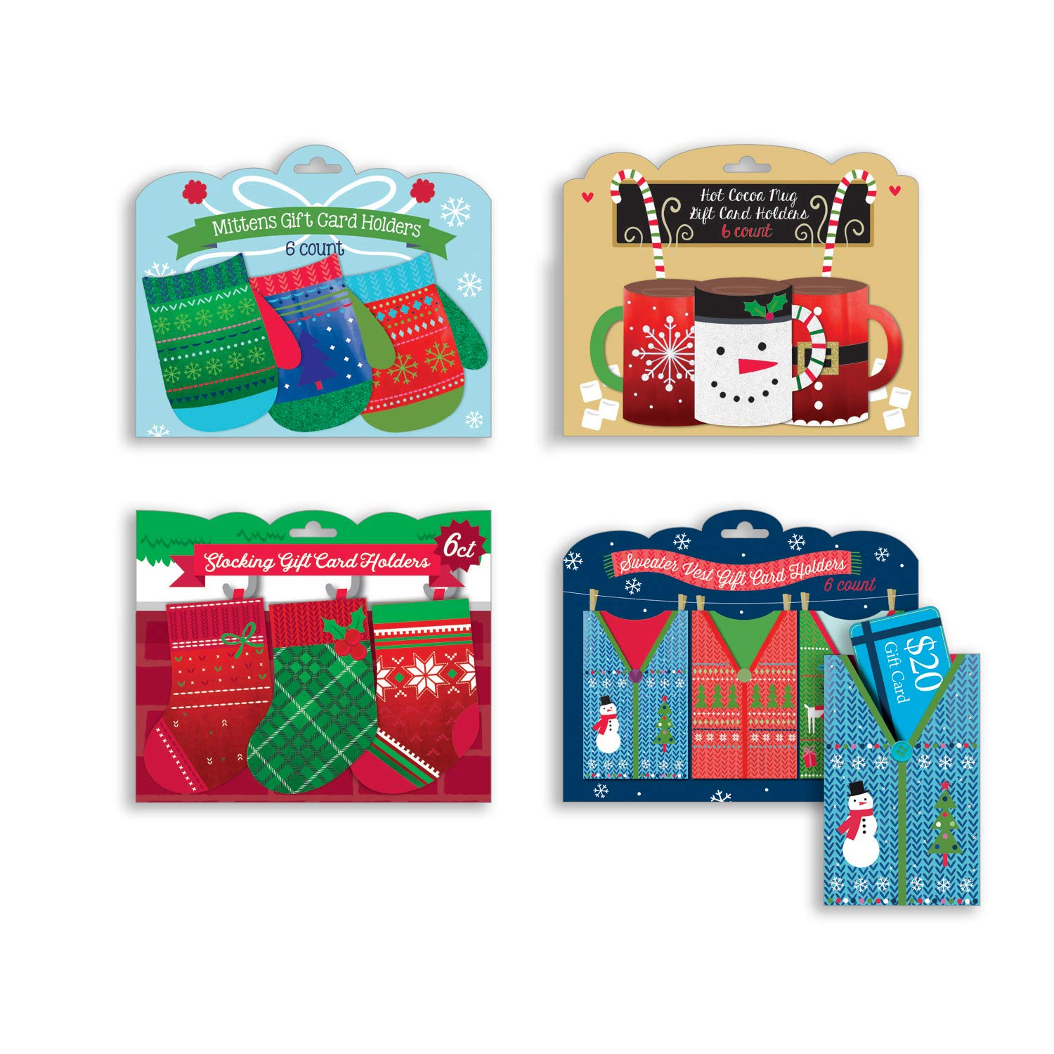 Festive Gift Card Holders 24 Count Great for