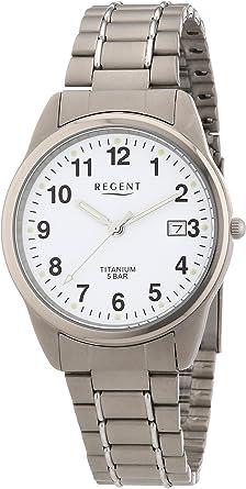 Regent 11090248 - Reloj analógico de Cuarzo para Hombre, Correa de Titanio Color Gris