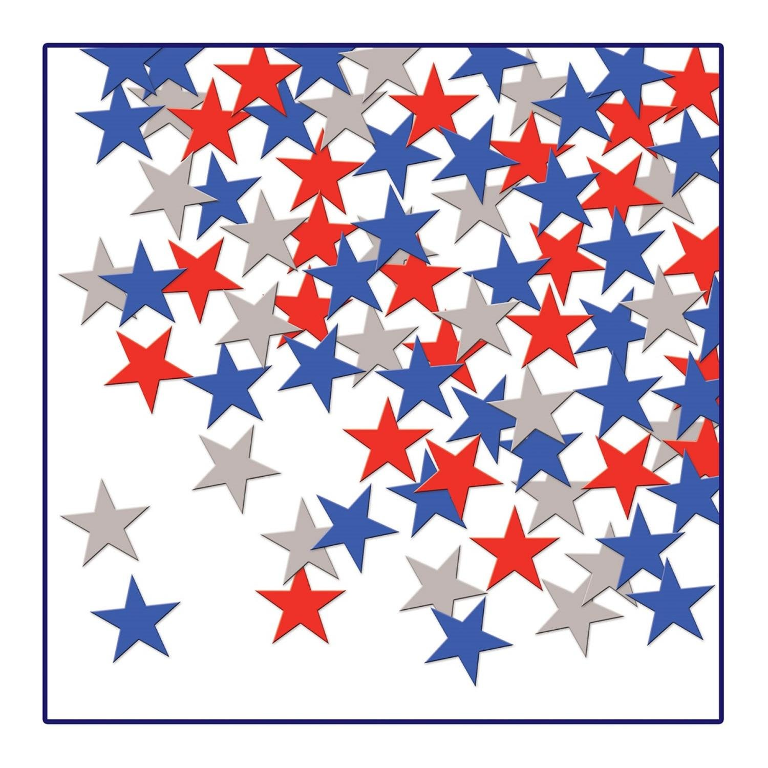 Party Central Club Pack of 12 Patriotic Red, Silver and Blue Fanci-Fetti Star Celebration Confetti Bags 1 oz.