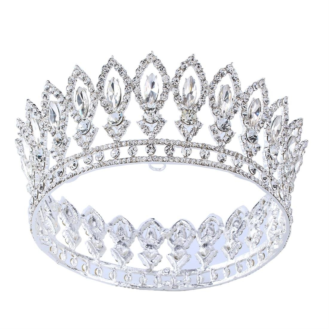 Stuffwholesale Princess Full Crown Wedding Party Hair Jewelry Gold Tiara (Silver/Crystal)