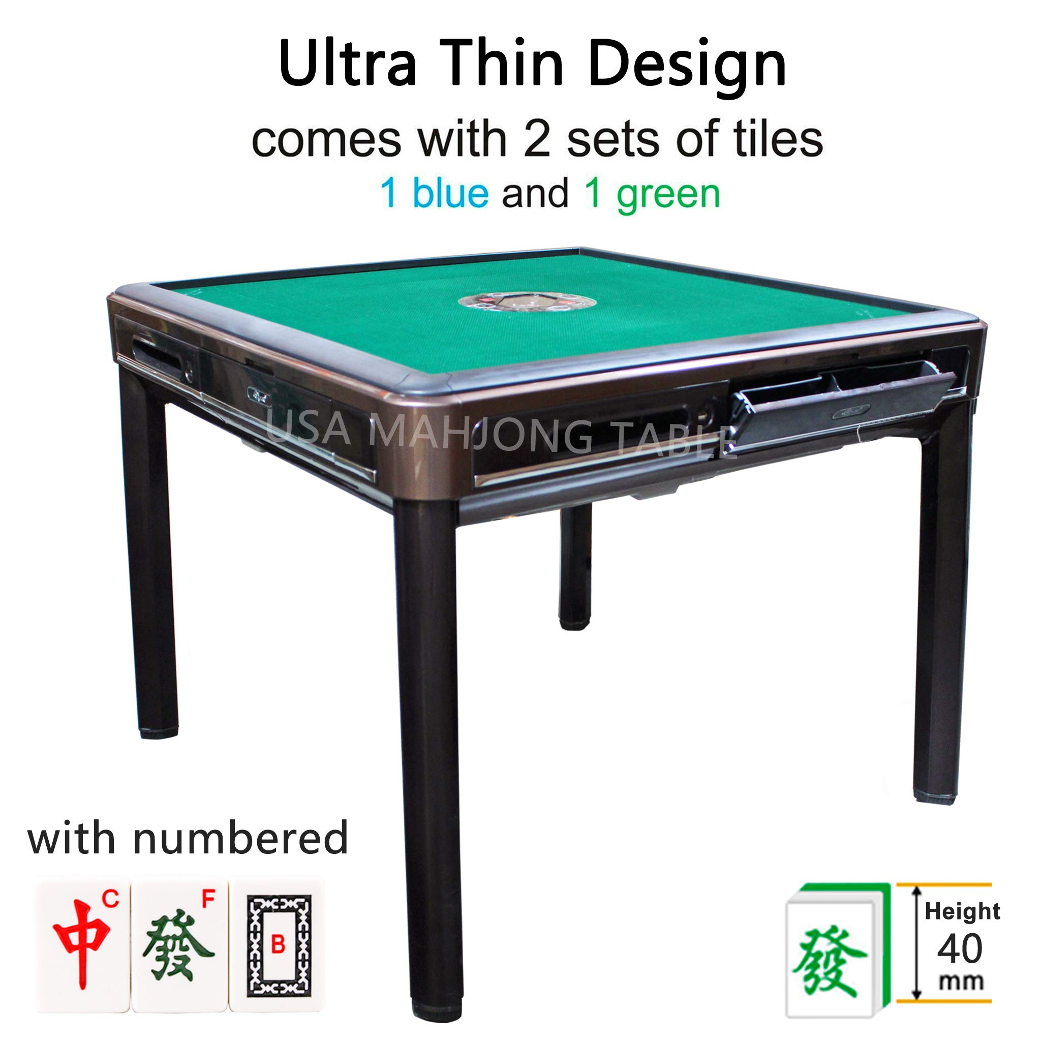 40mm Numbered Tiles 东方不败 Automatic Mahjong Table with 4 Legs Dining Table - Chinese Style, Philippine Style, Comes 2 Sets of Tiles (Blue & Green) & Table Cover (40mm Numbered Tiles) by usamahjongtable