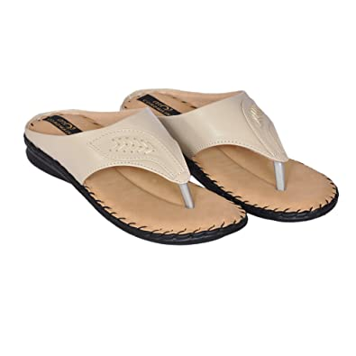631706621198e Cordwain 043 Women's Synthetic Slippers | Ladies Slippers | Beige Soft  Bottom Slippers | Doctor Sole