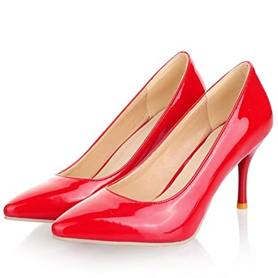 Ronald Turner Women Nude Patent Leather Pumps Pointed Toe High Thin Heels Slip On Party Shoes Plus Size 43