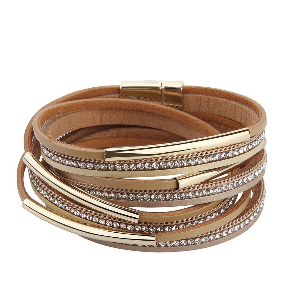 Bfiyi Leather Wrap Bracelet Women Handmade Bangle Cuff Wristband Gold Tube Bracelet with Multilayer Wrap