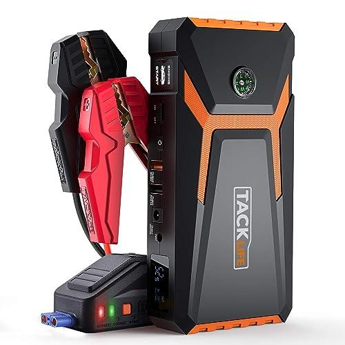 TACKLIFE T8 Arrancador de Coches 800A 18000mAh Ultra Seguro Arrancador de Baterias de Coche para 6 5L Gas 5 5L Diesel con Clamps Inteligentes Pantalla LCD USB de Carga Rápida LED Luz
