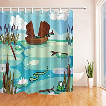 Amazon.com: NYMB Cartoon Boat Lotus Frog on the Lake for Kids Shower ...