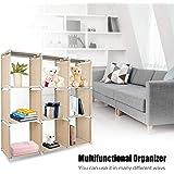 Azadx DIY Regolabile libreria, libreria cubi portaoggetti unità, Home Furniture mensola per la Camera dei Bambini, Soggiorno, Camera da Letto, Beige (9 cubi)