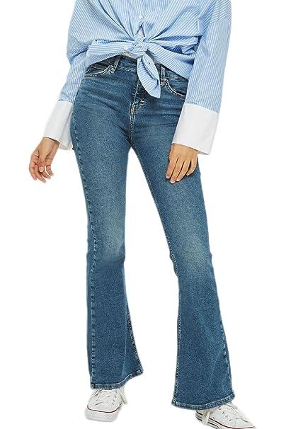 18e1b886f5a Zonsaoja Las Mujer Classico Vintage Denim Jeans De Cintura Alta Pantalones  De Campana De Fondo: Amazon.es: Ropa y accesorios