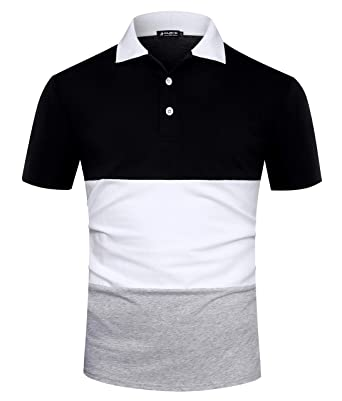 c6323e946330 Musen Men Short Sleeve Polo Shirts Casual Cotton Modern Fit Color Block  Rugby Polo Tshirts Black