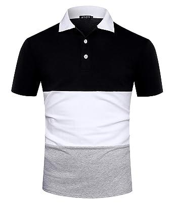 bdba22224ed5b Musen Men Short Sleeve Polo Shirts Casual Cotton Modern Fit Color Block  Rugby Polo Tshirts Black