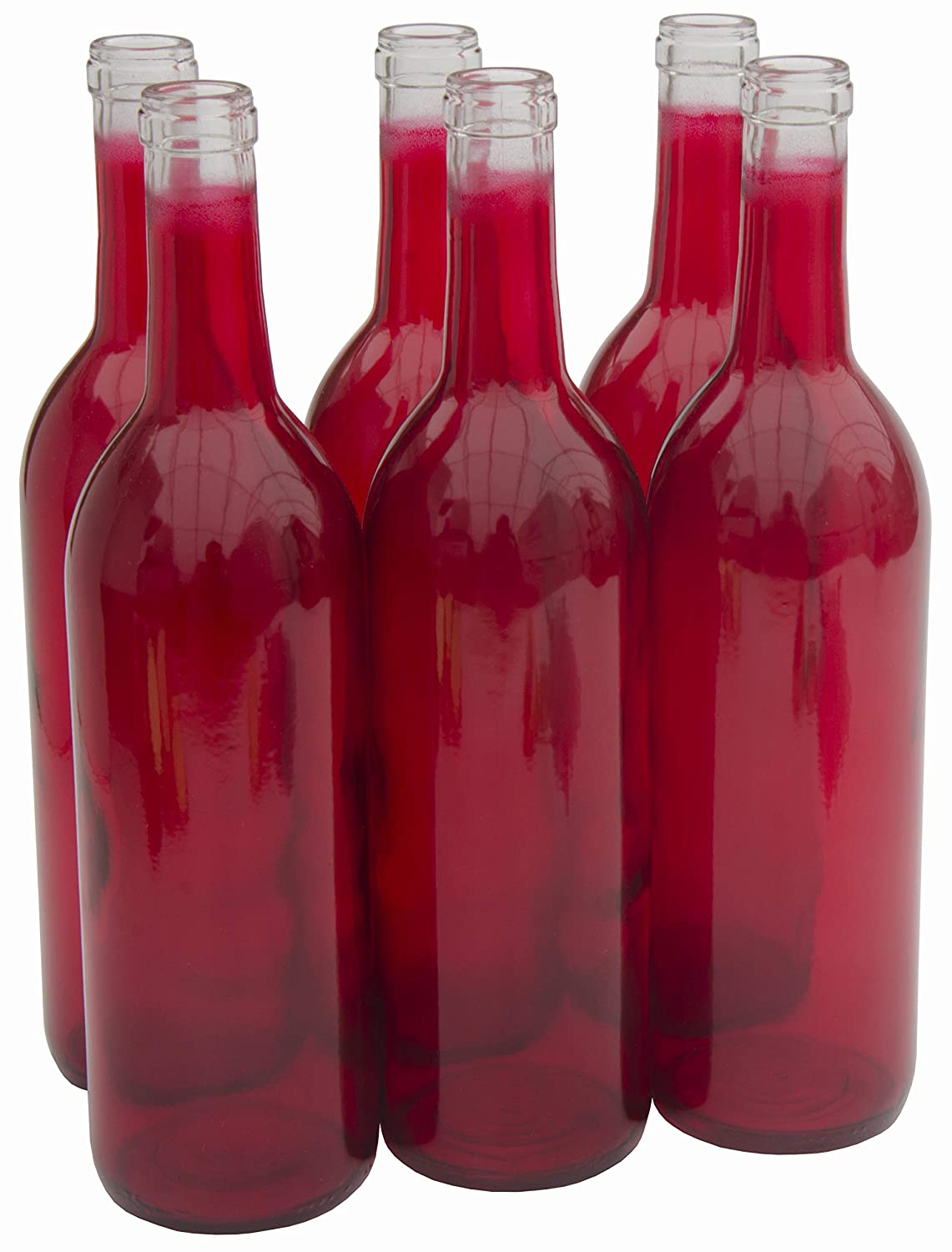 North Mountain Supply 750ml Glass Bordeaux Wine Bottle Flat-Bottomed Cork Finish - Case of 6 - Red