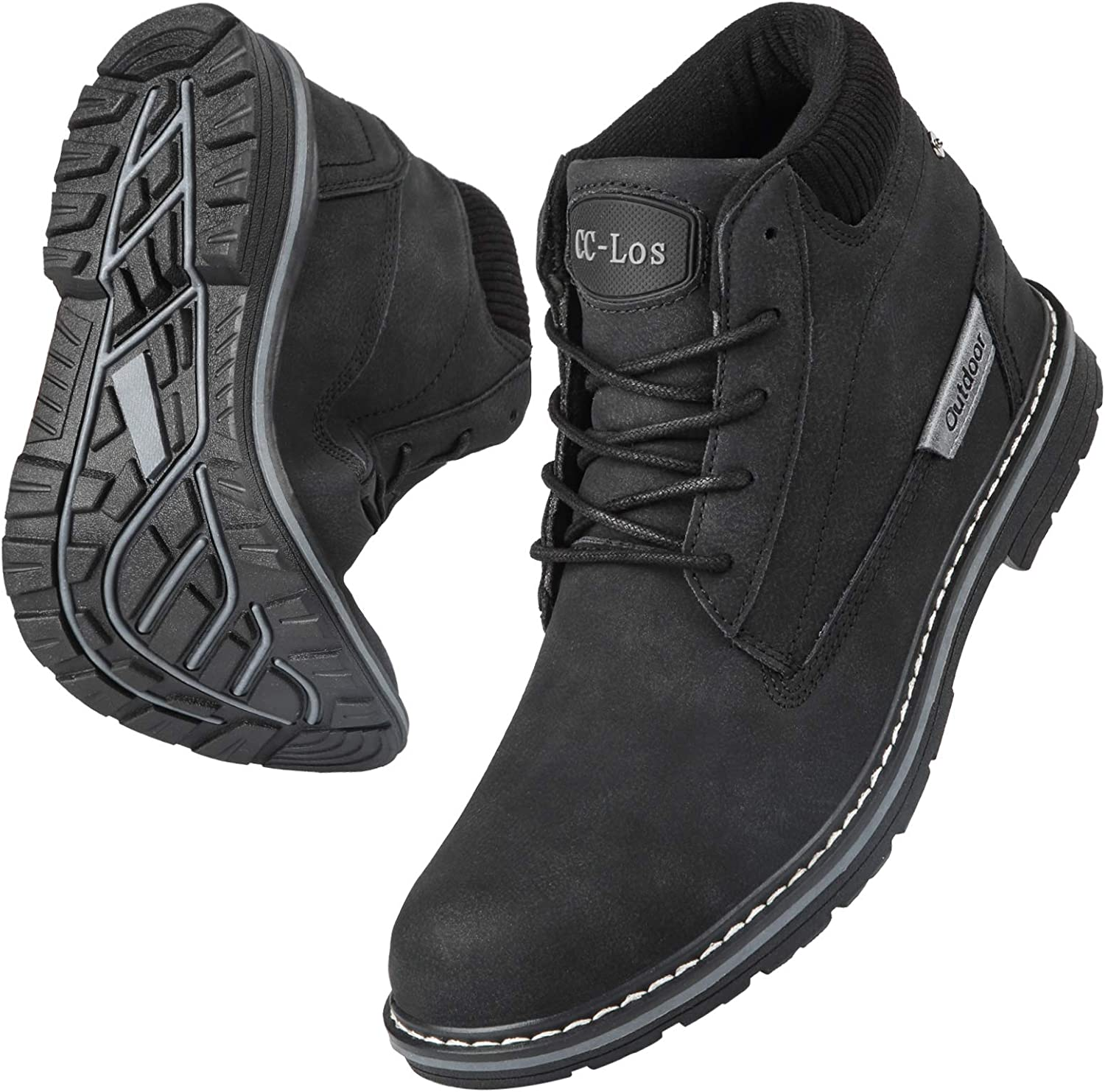 Men Boots Velvet Warm Ankle High Waterproof Hiking Outdoor Non-Slip Wear-Resistant Lightweight Sneakers Leather Shoes