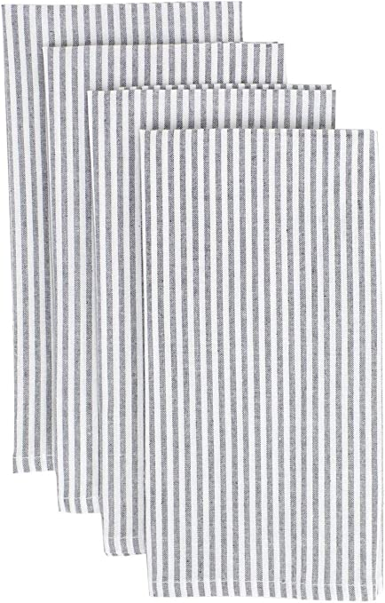 Amazon Com Fennco Styles Simple Ticking Stripes 100 Pure Cotton Table Napkins 20 X 20 Inch Set Of 4 Grey Dinner Napkins For Everyday Use Banquets Family Gathering Special Events And Home