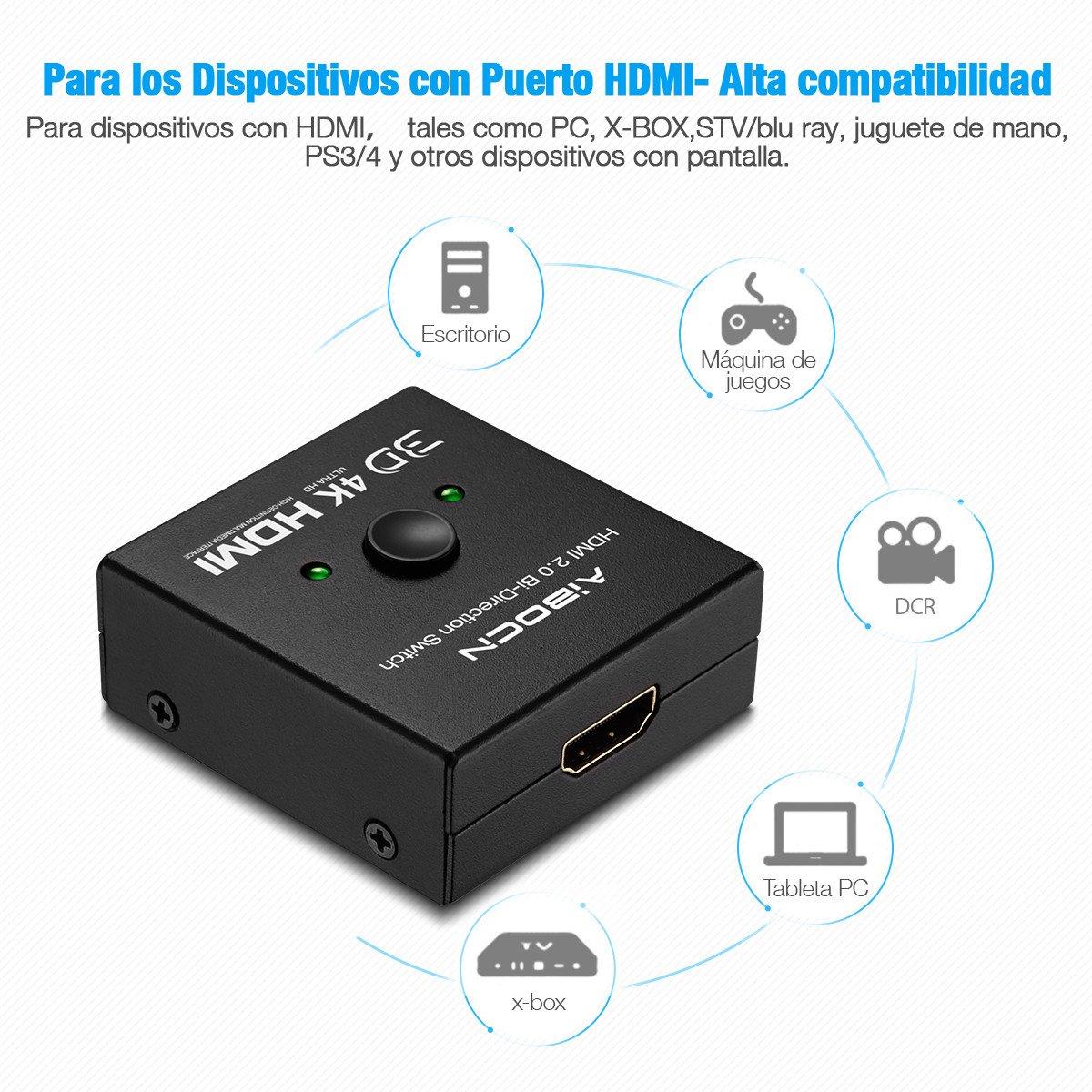 Aibocn Conmutador HDMI Switch Divisor 4K HDMI Bidireccional 2x1 Soporta 4K 3D 1080P para TV/PS4/PS3/XboX/DVD BLU-Ray,Color Negro