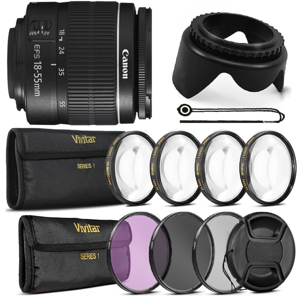 Canon EF - S 18 – 55 mm f / 3.5 – 5.6 III + All You Need Accessoryバンドルfor Canon t5 t6 t5i t6i 70d 80d   B06X9CJR5Z