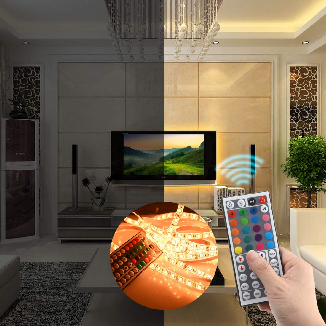 iRofa 44 Key IR Remote Controller and Adapter for RGB Flexible LED Light Strip iRofa-7-01