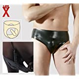 LateX, Slip in lattice Uomo, con fallo anale integrato, Nero, S