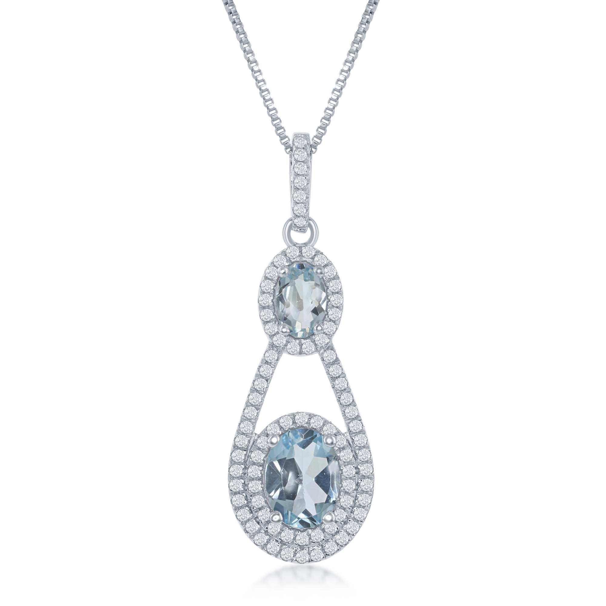 Sterling Silver High Polish Double Oval Blue Topaz with White Topaz Border 17+3'' Necklace by Beaux Bijoux