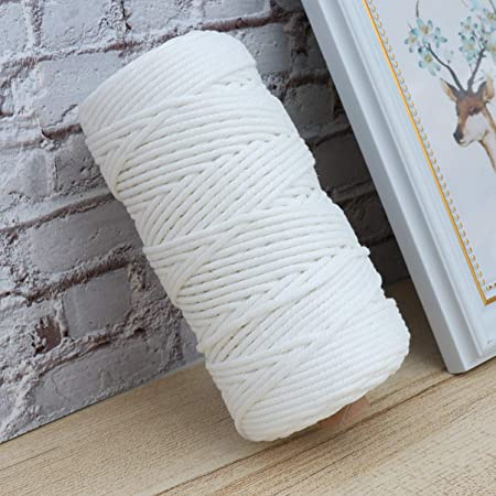 HEALLILY 100M 3mm Macrame Cord Macrame Rope Strand Twisted Cotton Cord for Wall Hanging Tapestry Plant Hangers Crafts Knitting White