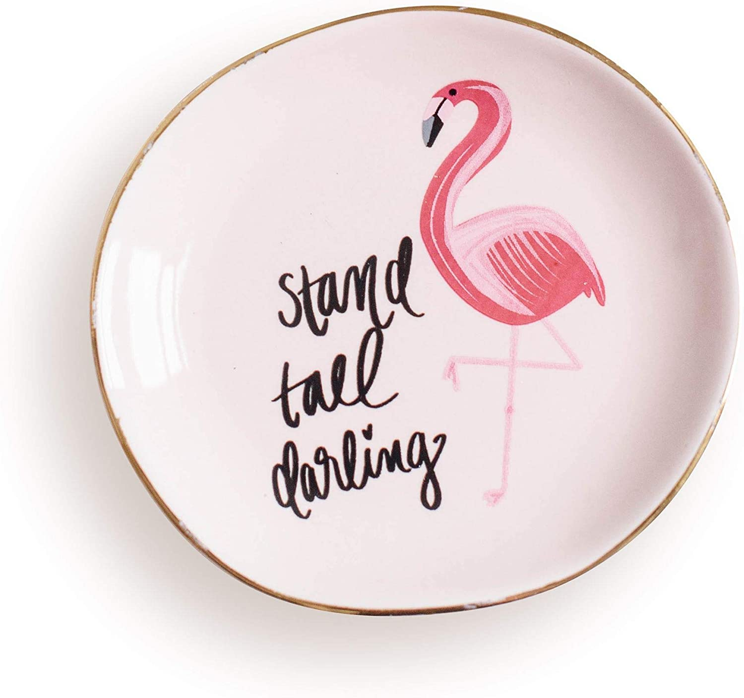 Stand Tall Darling Jewelry Dish Flamingo Trinket Tray Gift for Her Tropical Gold Office Decor Desk Storage Accessories Pink Office Decor Hand Drawn