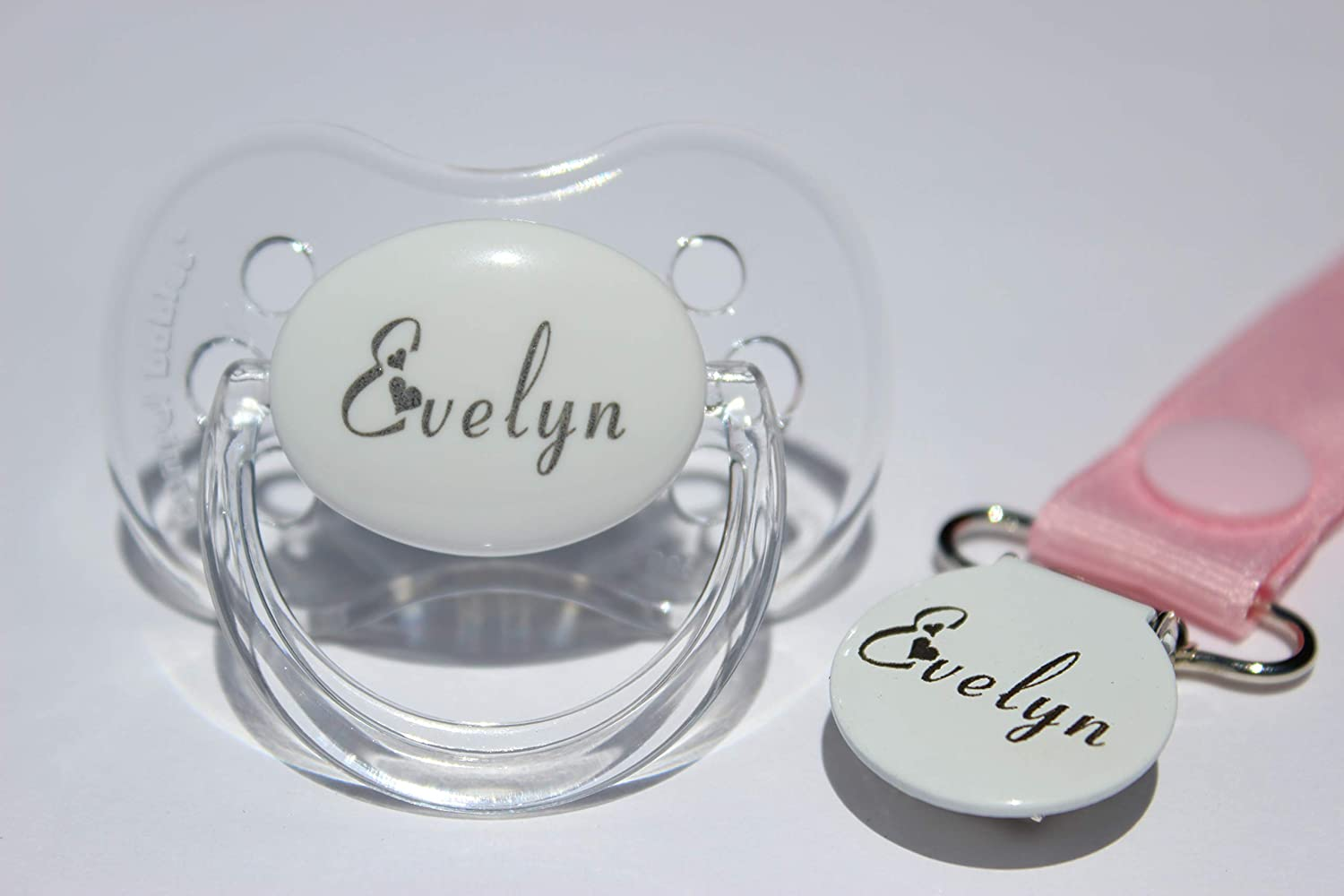 PERSONALISED DUMMY AVENT DUMMY AND DUMMY CLIP *HEART FONT* CAN BE STERILISED *