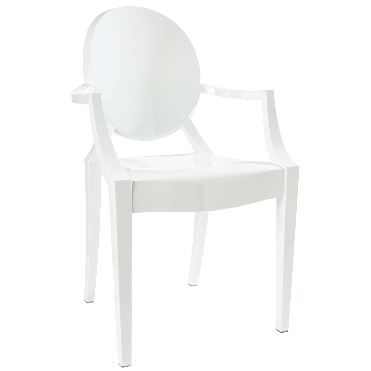 White Louis ghost arm chair. Hello Lovely, White French Home Decor for Fans of Country Interiors.