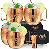 100% Pure Copper Moscow mule mugs, Set Of 4 copper cups for drinking Each Mug is HANDCRAFTED- Food Safe Pure Solid…