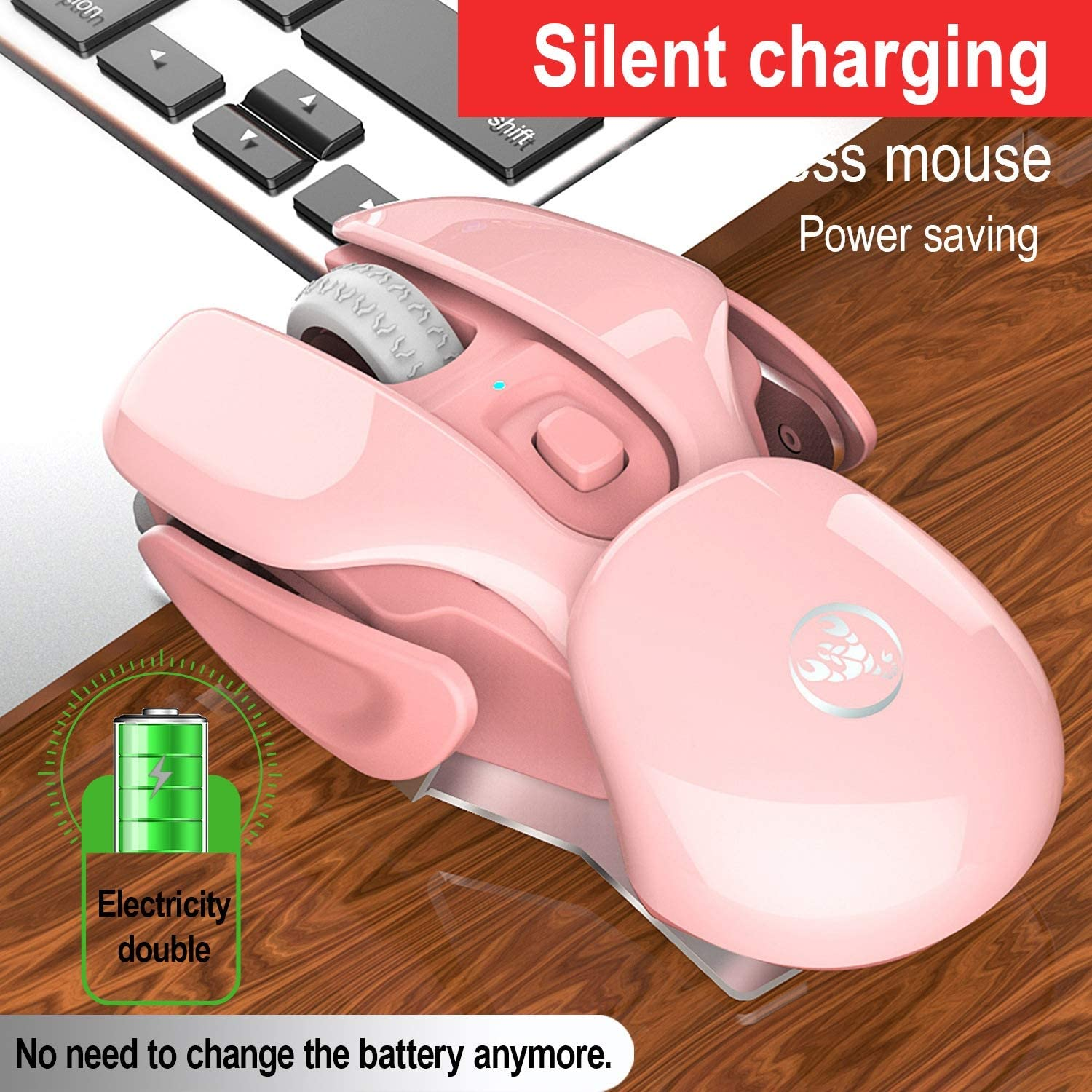 Black Silent Mice 2.4G Wireless Mouse Rechargeable Office Mouse 1600Dpi Adjustable Ergonomic Gaming Mouse Suitable for Office Games